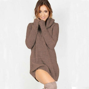 Women Casual Turtleneck Pullover Long Knitted Oversize Long Sleeve Jumper Sweaters Shirt Tops Dresses - Khaki / S - Dresses