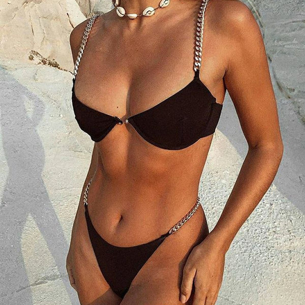 The Best Women Chain Push Up Bikini Set Bra Padded Swimwear Swimsuit Bathing Suit Online - Hplify