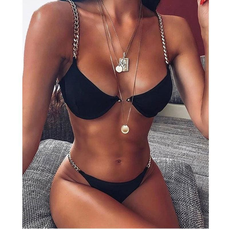 The Best Women Chain Push Up Bikini Set Bra Padded Swimwear Swimsuit Bathing Suit Online - Source Silk