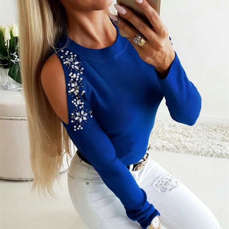 The Best Women Cold Shoulder Blouse Tee Ladies Long Sleeve Slim Fit Casual Tops Shirt Pullover Online - Hplify
