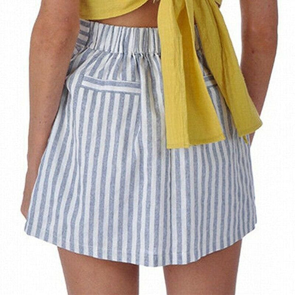 The Best Women Cotton&Linen Tennis High Waist Knot Skater Striped Pleated Flared A Line Circle Elastic Stretch Waist Short Mini Skirt Online - Hplify