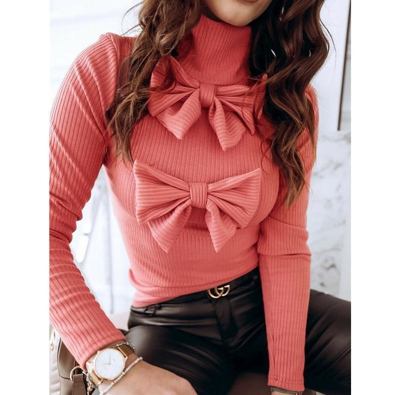 The Best Women Crochet Knit Crop Top Ladies Casual Turtleneck Bownot Shirt Blouse Pullover Sweater Tee Top Online - Source Silk