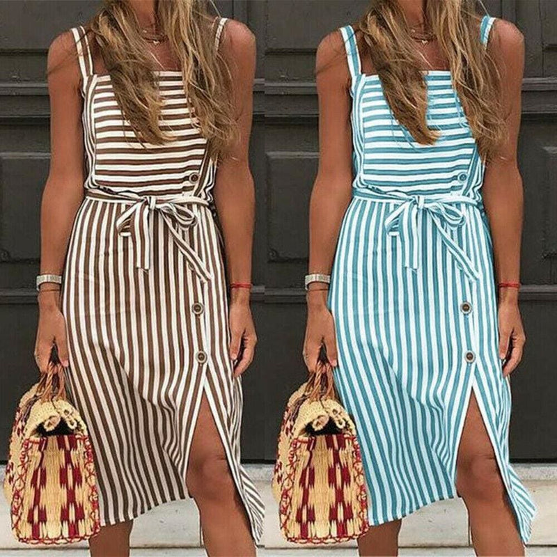 The Best Women Dress Striped Sundress Summer Holiday Beach Midi Dress Online - Hplify