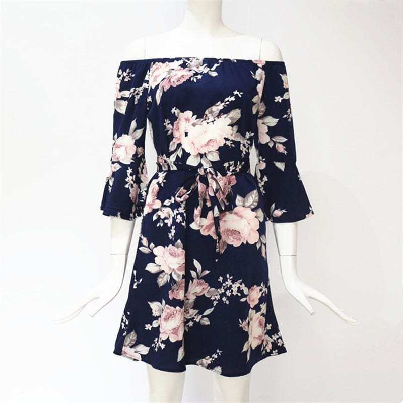 The Best Women Dress  Summer  Off Shoulder Floral Print Chiffon Dress Online - Source Silk