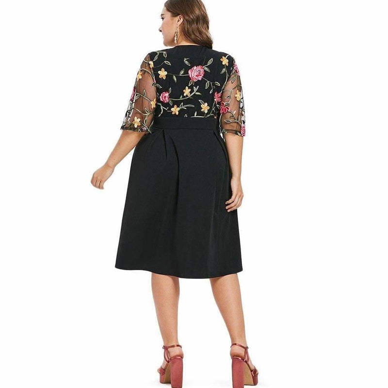 The Best Women Dress V Neck High Waist See Through Sleeves Vintage Plus Size Online - Source Silk