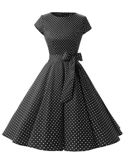 Women Dress Vintage Printed Dot A-Line O-Neck Bow Sashes - black / S - Womens Dresses