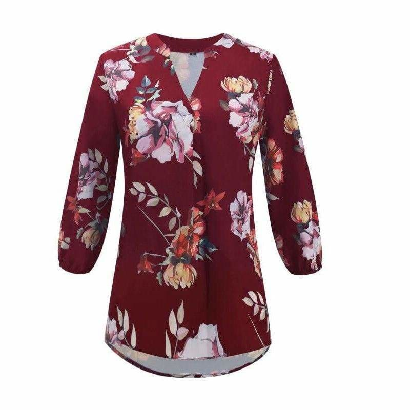 The Best Women Floral Print Chiffon Blouse Three Quarter V-Neck Casual Tops Online - Hplify