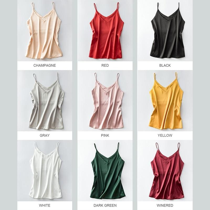 The Best Women Halter V Neck Basic  White Cami Sleeveless Satin Silk Tank Tops Online - Hplify