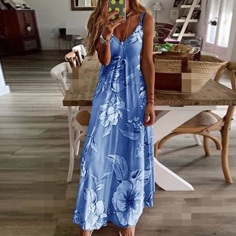 The Best Women Halter V Neck Boho Long Dress Floral Printed Sleeveless Beachwear Holiday Sundress Female vestidos Online - Hplify