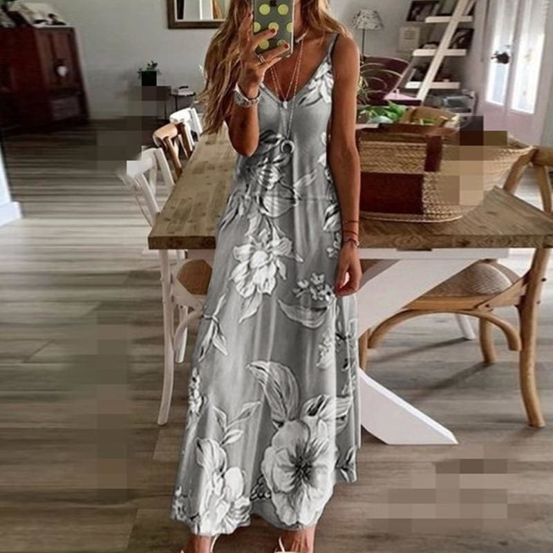 Buy Cheap Women Halter V Neck Boho Long Dress Floral Printed Sleeveless Beachwear Holiday Sundress Female vestidos Online - Hplify