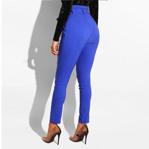 The Best Women High Waist Pants with Waist Belt Elegant Casual Fashion Trousers Online - Hplify