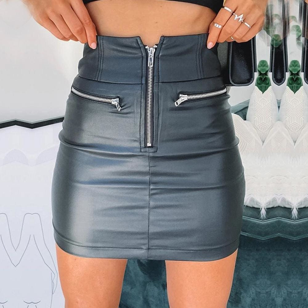 Women High Waist PU Leather Bodycon Mini Skirt Ladies Evening Party Zipper Skirt - Black / S - Bottoms