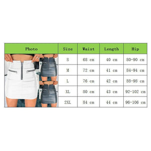 Women High Waist PU Leather Bodycon Mini Skirt Ladies Evening Party Zipper Skirt - Bottoms