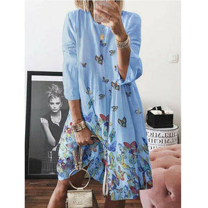 Women Holiday Autumn Long Sleeve A-Line Ladies Casual Maxi Dress Summer Boho Beach Dress Sundress - Blue / S - Dresses