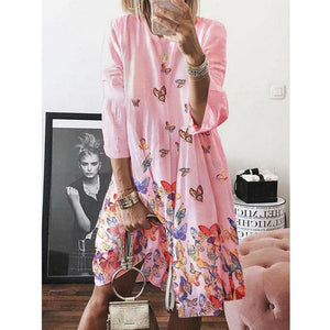 Women Holiday Autumn Long Sleeve A-Line Ladies Casual Maxi Dress Summer Boho Beach Dress Sundress - Pink / S - Dresses