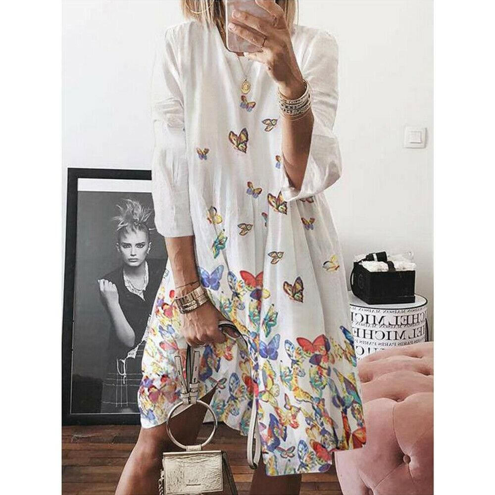 Women Holiday Autumn Long Sleeve A-Line Ladies Casual Maxi Dress Summer Boho Beach Dress Sundress - White / S - Dresses