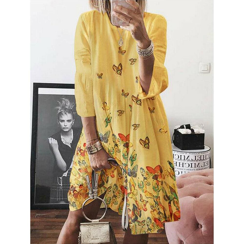 Women Holiday Autumn Long Sleeve A-Line Ladies Casual Maxi Dress Summer Boho Beach Dress Sundress - Yellow / S - Dresses