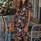 The Best Women Holiday Dress Boho Floral Wrap Short Sleeve Elegant Ladies Summer Beach Party Sundress Online - Source Silk
