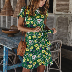 The Best Women Holiday Dress Boho Floral Wrap Short Sleeve Elegant Ladies Summer Beach Party Sundress Online - Hplify