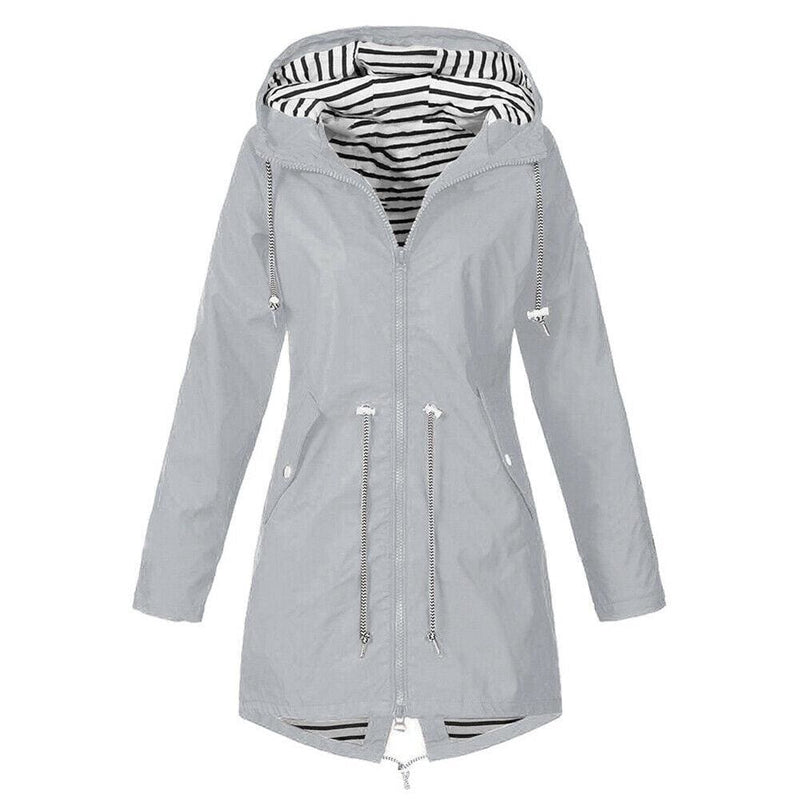 The Best Women Hooded Coat Windproof Rain Coat Parka Zip Jacket Online - Hplify