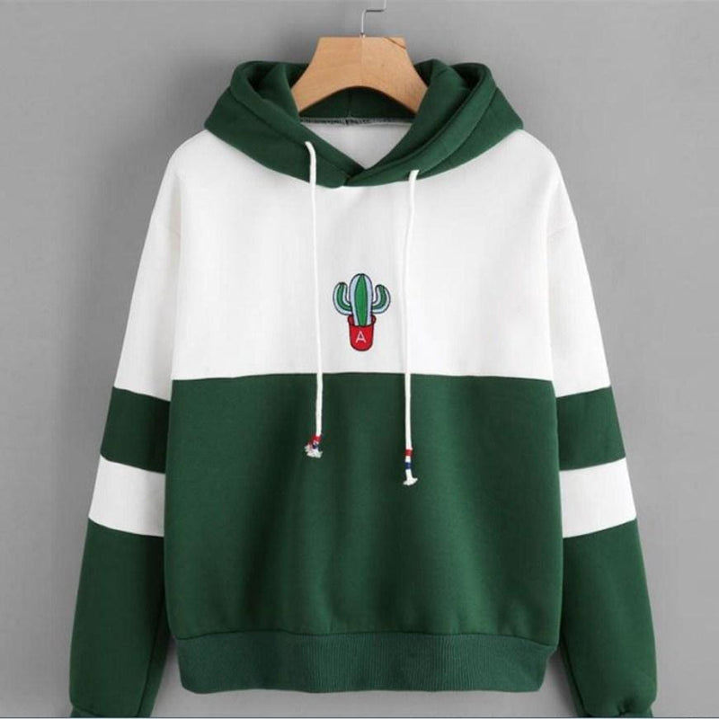 The Best Women Hoodies Sweatshirt Cactus Print Ladies Contrast Color Pullover Long Sleeve Casual Jumper Tops Hooded Online - Hplify