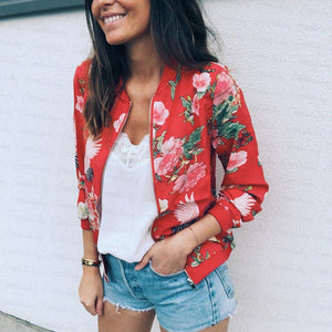 Women Jacket Lady Bomber Floral Print Street Outwears Polyester - A / S - Womens Clothing