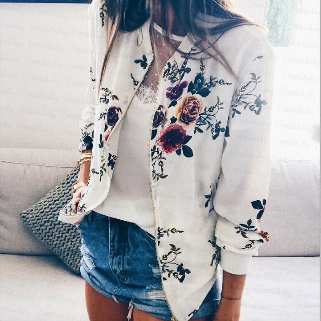 Women Jacket Lady Bomber Floral Print Street Outwears Polyester - B / S - Womens Clothing
