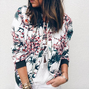 Women Jacket Lady Bomber Floral Print Street Outwears Polyester - C / S - Womens Clothing
