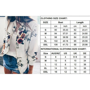 Women Jacket Lady Bomber Floral Print Street Outwears Polyester - Womens Clothing