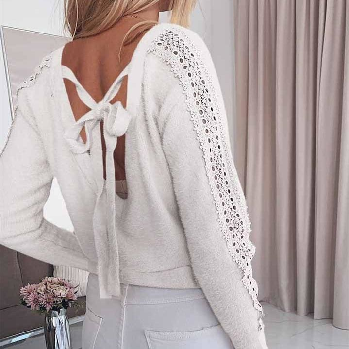 The Best Women Lace Bandage Tops Ladies Long Sleeve Round Neck Backless Blouse Pullover Loose Shirt Online - Hplify