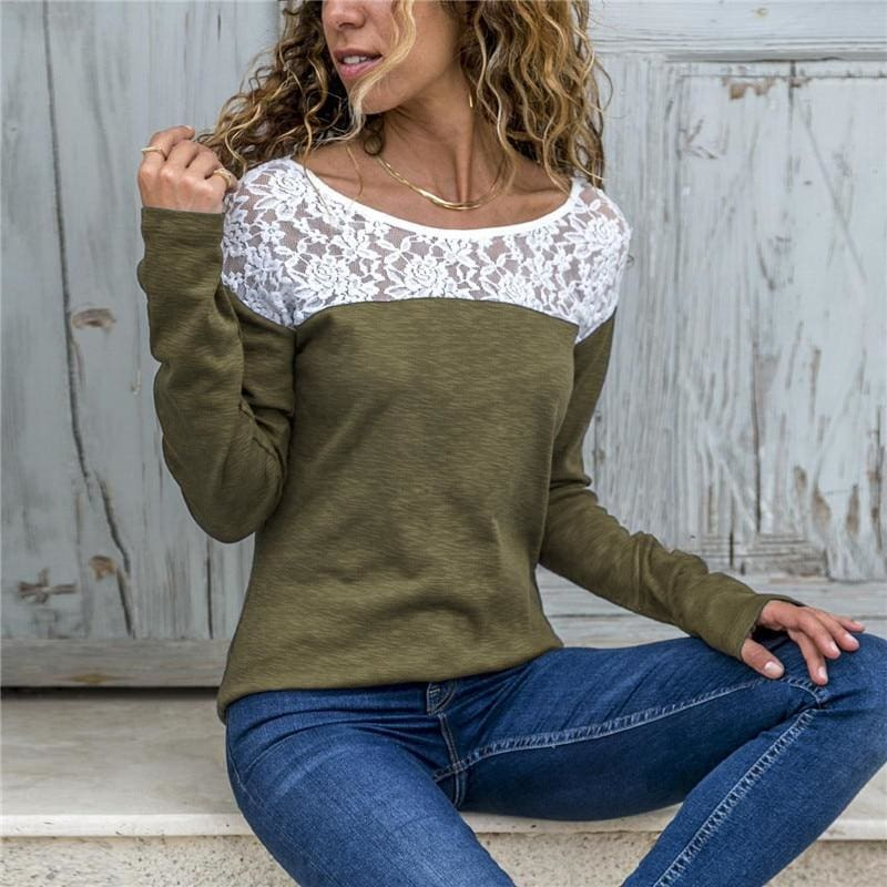 Women Lace Blouse Casual Long Sleeve Tunic O-Neck Patchwork Blouses - Army Green / L - Womens Tops