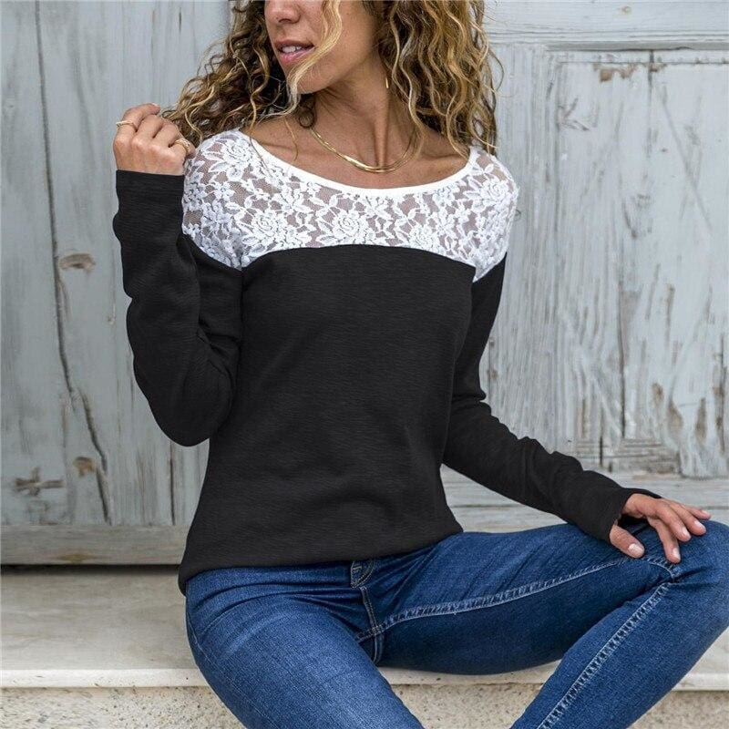 Women Lace Blouse Casual Long Sleeve Tunic O-Neck Patchwork Blouses - Black / L - Womens Tops