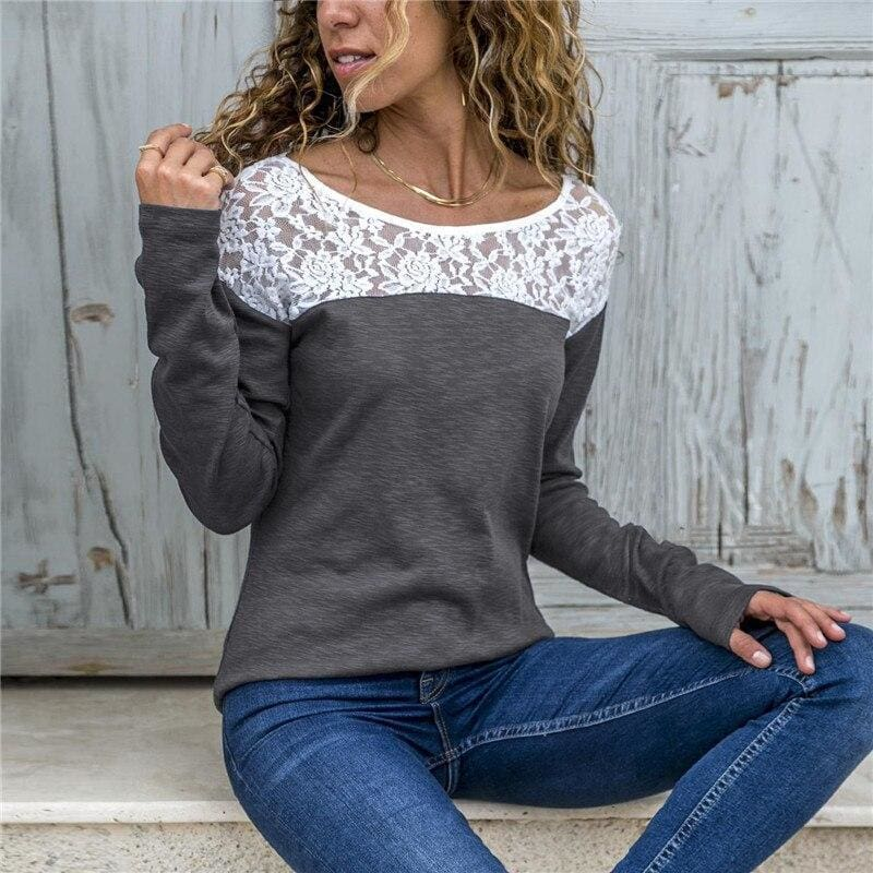 Women Lace Blouse Casual Long Sleeve Tunic O-Neck Patchwork Blouses - Gray / L - Womens Tops