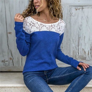 Women Lace Blouse Casual Long Sleeve Tunic O-Neck Patchwork Blouses - Royal Blue / L - Womens Tops