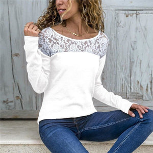 Women Lace Blouse Casual Long Sleeve Tunic O-Neck Patchwork Blouses - White / L - Womens Tops
