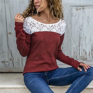 Women Lace Blouse Casual Long Sleeve Tunic O-Neck Patchwork Blouses - Wine Red / L - Womens Tops