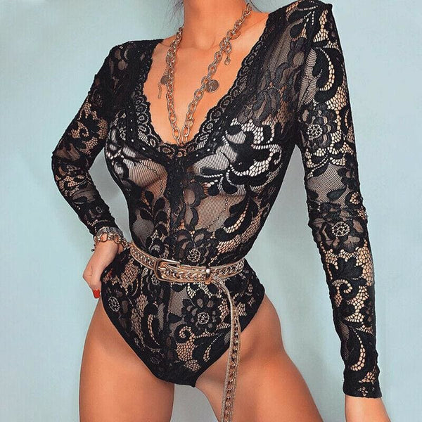 The Best Women Lace Bodysuit Playsuit Bandage Bodycon Slim Romper Online - Hplify