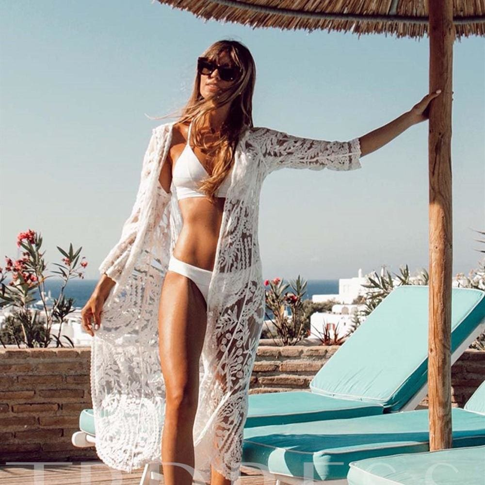 Women Lace Kimono Beach Cardigan Bikini Cover Up Wrap Beachwear Long Blouse Summer Vacation Shirt Dress - Womens Beachwear