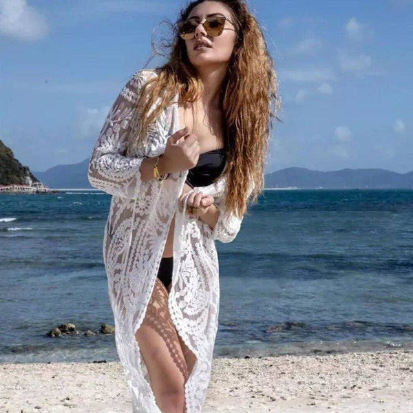 The Best Women Lace Kimono Beach Cardigan Bikini Cover Up Wrap Beachwear Long Blouse Summer Vacation Shirt Dress Online - Hplify