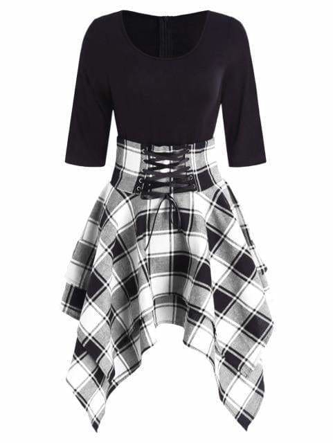 Women Lace Up Plaid Asymmetrical Dress O-Neck - Black / M - Womens Dresses
