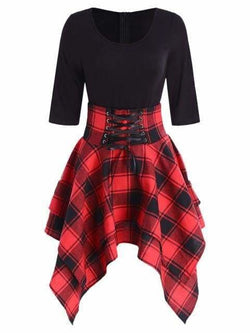 The Best Women Lace Up Plaid Asymmetrical Dress O-Neck Online - Source Silk
