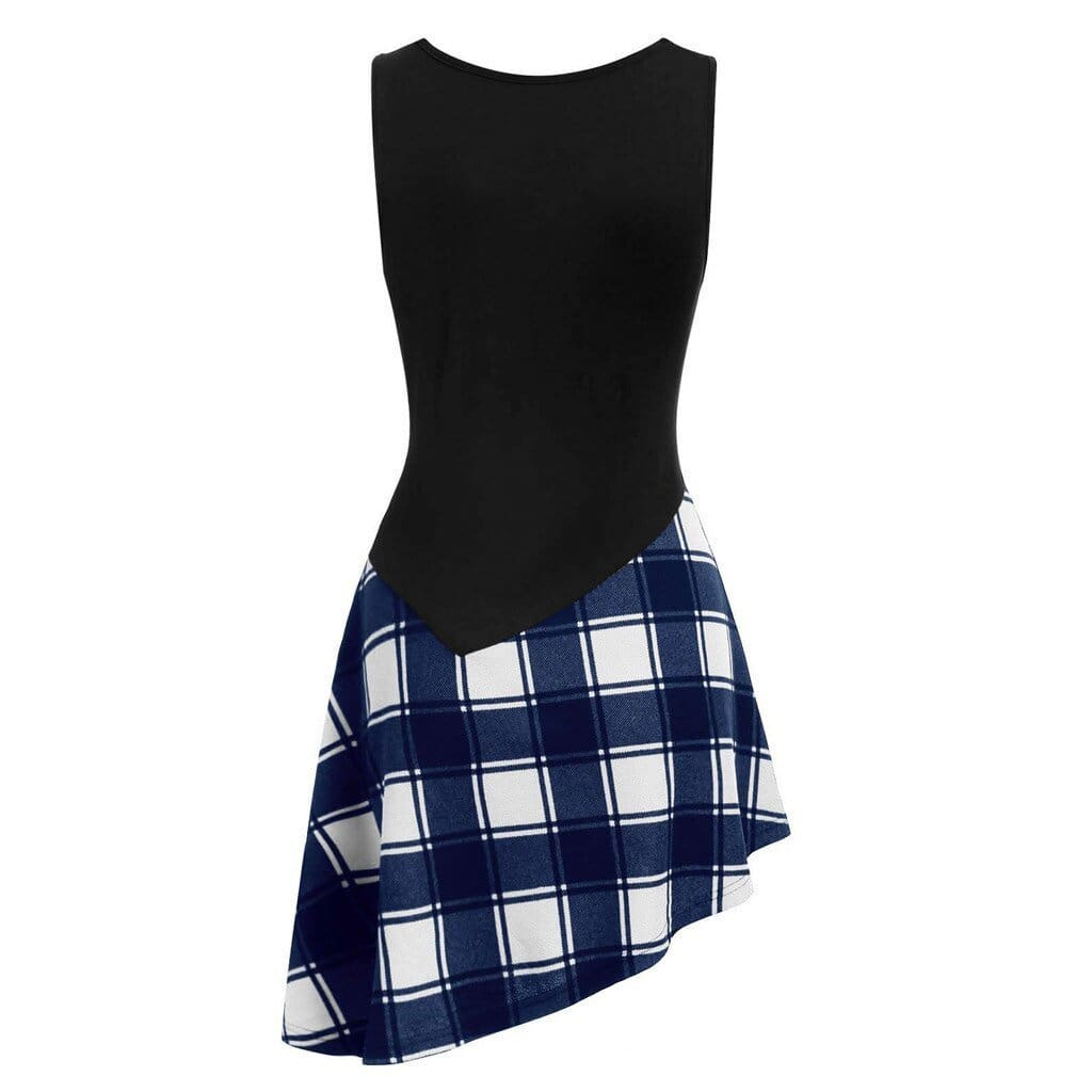 Women Lace Up Tartan Checked Plaid Print Asymmetrical Dress - Hplify