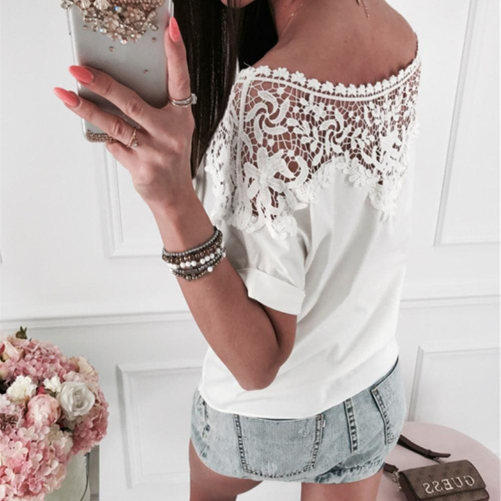 Buy Cheap Women Ladies Batwing Short Sleeve Lace Hollow Baggy Casual T-Shirt Tops Online - Hplify