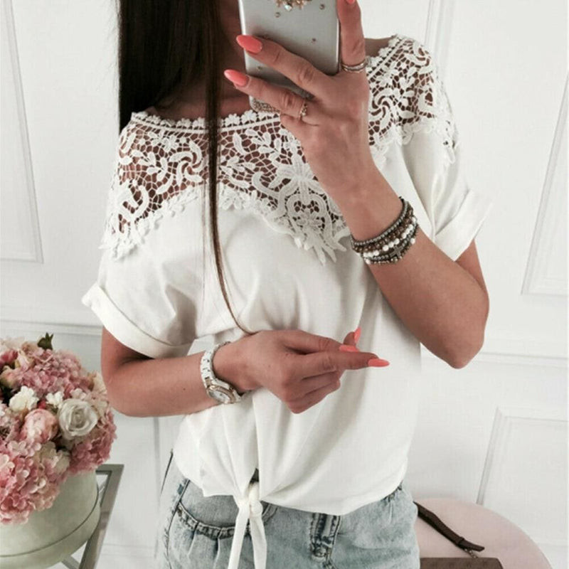 The Best Women Ladies Batwing Short Sleeve Lace Hollow Baggy Casual T-Shirt Tops Online - Hplify