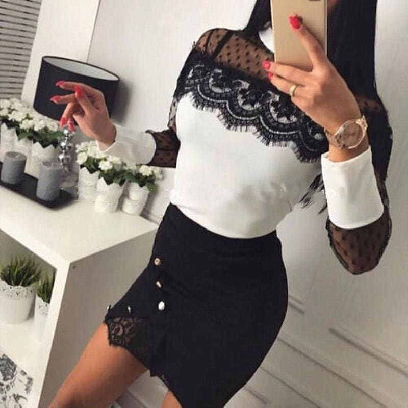 The Best Women Ladies High Waist Pencil Skirts Button Lace Patchwork Sexy Bodycon Suede Leather Split Party Casual Mini Skirt Online - Source Silk