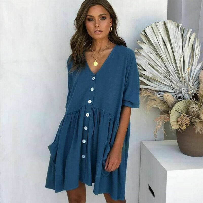 The Best Women Ladies Holiday Short Sleeve Loose Button Pocket Dresses Summer Beach Mini Swing Sun Dress Tops Online - Hplify