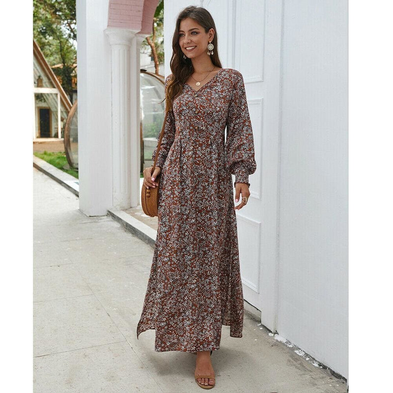 The Best Women Ladies Long Lantern Sleeve Autumn Dress Floral Autumn Pre-fall Holiday Buttons Maxi Dress Online - Hplify