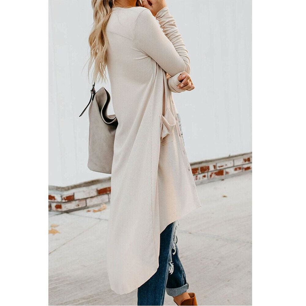 The Best Women Ladies Long Sleeve Knitted Cardigan Sweater Casual Button Pocket Front Loose Jumper Coat Online - Source Silk