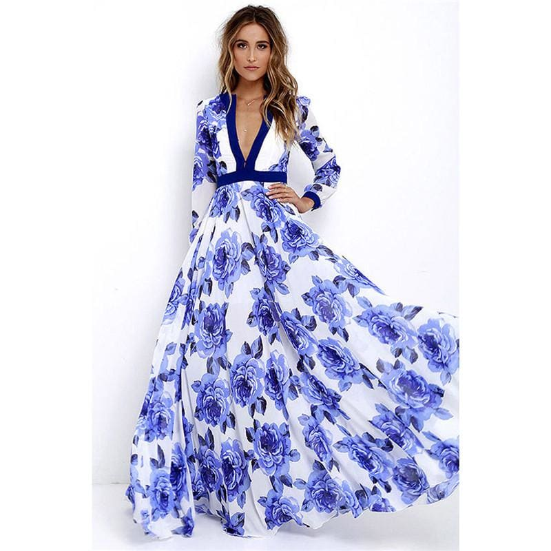 The Best Women Ladies Long Sleeve Maxi Dress Casual Deep V-neck Floral Printed Slim Elegant Long Maxi Dress Online - Source Silk