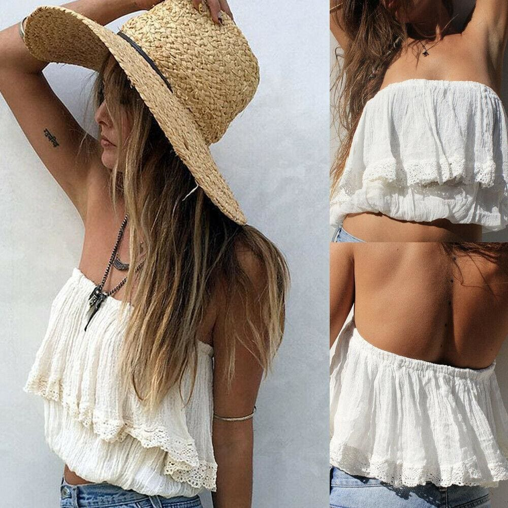 Buy Cheap Women Ladies Off Shoulder Boob Elastic Tube Tops Blouse Cami Tops Online - Hplify